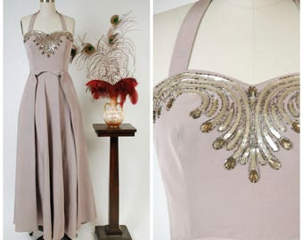 Vintage 1950s Dress - Spring 2018 Lookbook - Misty Lavender Faille Evening Gown with Halter and Gleaming Silver Sequin Embellishment