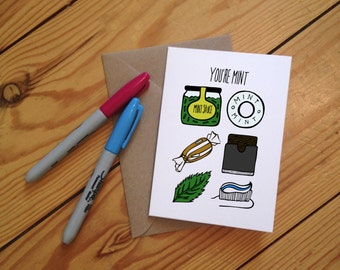 You're Mint Illustrated Greetings Card