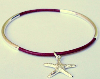 Custom 1 SILVER Double Tube Leather BANGLE Bracelet w/ Silver Star Fish Charm - Pick Colors / Size Bangle - 44 Colors  Made in Usa 001