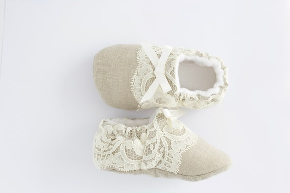 linen and lace baby girl shoes