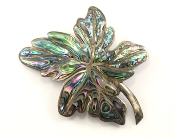 Vintage Mexico Large Leaf Design Abalone Pin/Brooch 925 Sterling BB 873