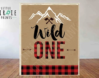 Lumberjack First Birthday Party sign Lumberjack Wild One Instant download - Lumberjack instant download sign Buffalo Plaid Wild One sign