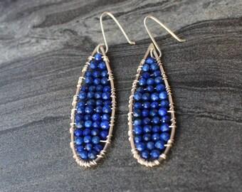 Lapis earrings,  Bohemian gupsy earrings, sterling silver beadwork earrings, mosaic wire earrings, teardrop earrings, egyptian earrings