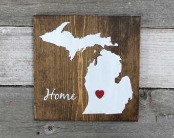 """All States Available, Rustic Hand Painted """"Home State"""" Wood Sign, Michigan State Home, Home State Pride - 9.25""""x9.25"""""""