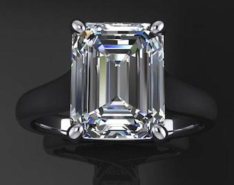 katya ring - 2.5 carat emerald cut NEO moissanite engagement ring, moissanite ring