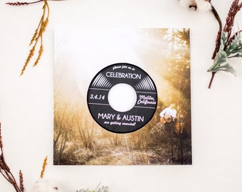 Music Lovers Vinyl Record Wedding Invitation (authentic vinyl record)