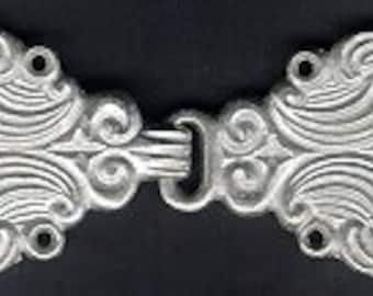 BC06 -   Ornate Matte Silver Finish Cloak or Cape Clasp
