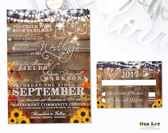 Rustic Sunflower Wedding Invitations Printable Set Country Rustic Mason Jar Fall Leave Sunflower Wedding Invitation Kit Country Sheek DIY
