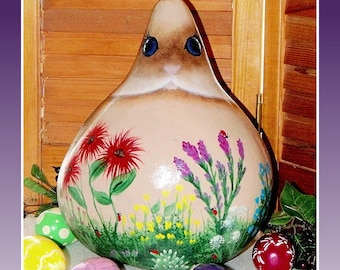 """Large 12"""" Hand Painted 'BUNNY in THE GARDEN' Easter-Spring Hardshelled Gourd Decoration-Spring Home Decor-Tole and Decorative Painting-ofg"""
