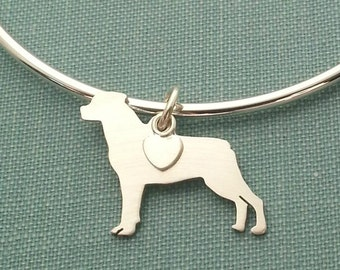Rottweiler Dog Bangle Bracelet, Sterling Silver Personalize Pendant, Breed Silhouette Charm, Rescue Shelter, Birthday Gift