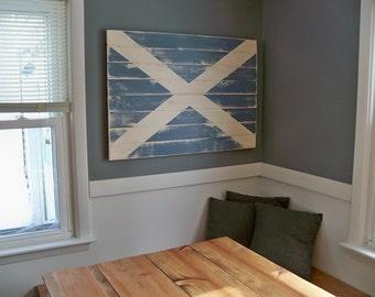 "Distressed Scottish Flag Wood Wall Hanging 38"" x 28"""