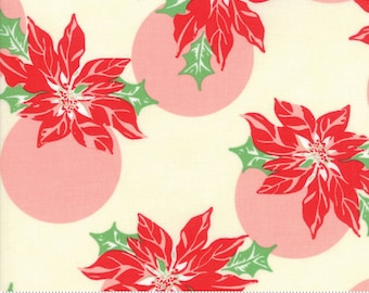 Swell Christmas by Urban Chiks for Moda, #31121-11, Cream Poinsettia, Vintage Santa, Christmas Fabric, Christmas in July, IN STOCK
