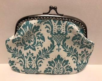 Large Blue Damask Coin Purse