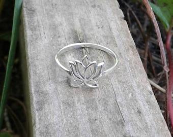 Lotus Ring, Solid Sterling Silver Lotus Flower Ring, Lotus Jewelry, Hindu Jewelry, Yoga Jewelry