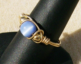 Cat's Eye Ring - Outstanding Handcrafted Wire Wrapped Gold Filled Wire & Periwinkle Blue, Size7, by JewelryArtistry - R447