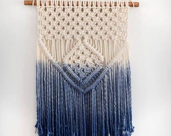 NAVY BLUE OMBRE macrame wall hanging