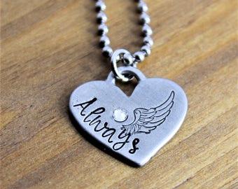 Always Rustic Pewter Heart Handstamped Pendant Necklace