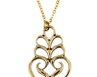Scroll pendant – bronze Christmas Pendant Necklace- Hand Made and Design in UK
