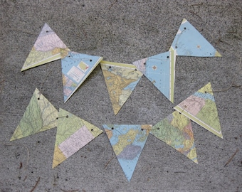 handmade vintage map bunting on six feet of natural hemp, upcycled, recycled, repurposed.