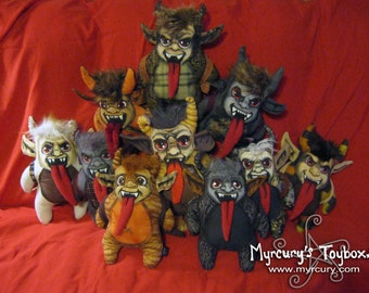 KRAMPUS!! Plush Doll One of a Kind handmade MADE to ORDER cuddly Krampus with hand painted unique face!