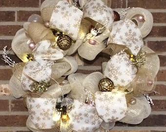 Gold and Ivory Wintery Wreath