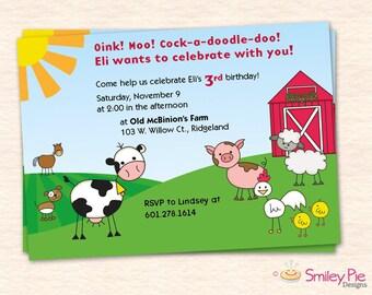 Barnyard Birthday Party Invitation - Printable File - Farm Animal Birthday Party - Boy Birthday - Second Third Birthday - Baby Boy