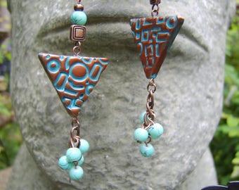 Turquoise And Copper Beaded Tassel Earrings. Triangular Earrings. Long Earrings. Boho Earrings. Gypsy Earrings. Hippy Earrings. Gift For Her