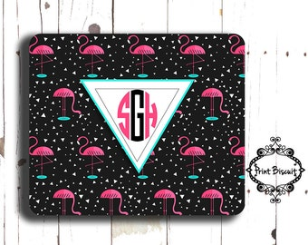 Personalized Mouse Pad, Pink Flamingo Mouse Pad, Custom Mouse Pad, Miami Mouse Pad, Art Deco Mouse Pad, Geometric Pad, Monogram Mouse Pad