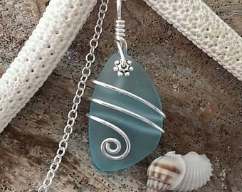 Handmade in Hawaii, Wire wrapped Turquoise Bay blue sea glass necklace, Sterling silver chain, Hawaiian  jewelry, Mother's Day Gifts