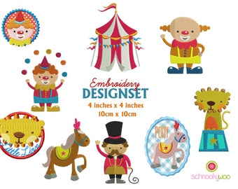 Circus Embroidery Design, Embroidery Circus, clown embroidery design, for 4x4 inch frame, Circus Animals, Carnival tent, pony embroidery