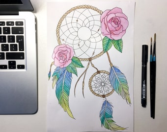 Watercolour Rose, Feather Dreamcatcher - Original Painting