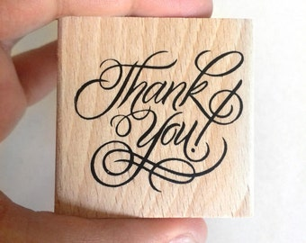 thank you rubber stamp - stationey stamp - wedding thank you stamp - wooden stamp - calligraphy stamp - cardmaking stamp - packaging stamp