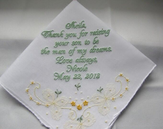 Mother of the Goom Custom Wedding Handkerchief, Embroidered Wedding Handkerchiefs, Custom Embroidered Handkerchief, Wedding Hankies