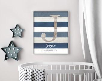 Custom Name Sign For Nursery, Boy Nursery Wall Art, Rustic Nursery Decor, Initial Wall Art Print, Playroom Art, Personalized DIGITAL PRINT