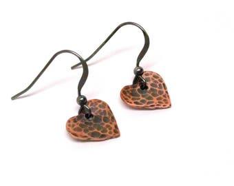 Copper Heart Earrings, Hammered Heart Earrings, Sterling Silver Ear Hooks, Rustic Copper Jewelry