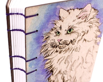Purple Cat Journal - Lay Flat Journal - Unlined Journal - Coptic Stitch - 160 Pages - handmade by Ruth Bleakley