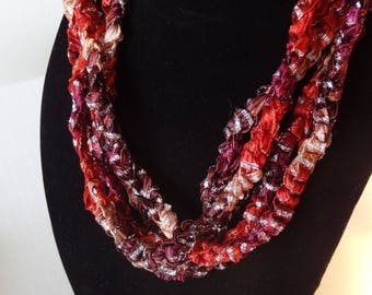 Copper Coin Ribbon Yarn Crocheted Necklace SALE