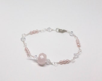 Pink Crystal and Pearl Bracelet Hand Wire Wrapped