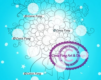 Digital Stamp, Digi Stamp, Digistamp, Conie Fong, flowers, bouquet, vase, Coloring Page, birthday, mother's day, get well, sympathy