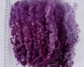 "30g (62.00 Euro/100g) 1oz hand dyed long wensleydale locks, long curls, felting wool, dolls hair, wool locks,purple, blue,8-10"", 100% wool,"