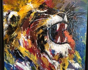 Yawn/Roar Original framed painting, portrait of lion