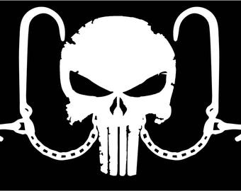 Punisher Tow Truck Vehicle Recovery J Hook Window vinyl sticker decal