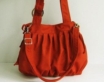 Sale - Burnt Orange Canvas Pumpkin Bag, purse, tote, shoulder bag, crossbody bag, messenger bag, diaper bag, women