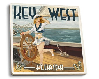 Key West, FL - Sailor Pinup - LP Artwork (Set of 4 Ceramic Coasters)
