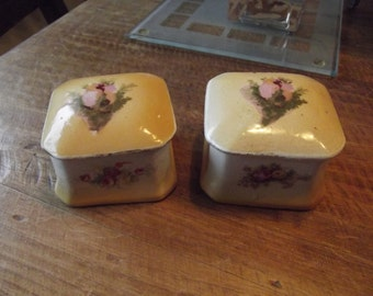 very quirky pair of trinket boxes for a shabby chic dressing table..prob dated 40s to 50s