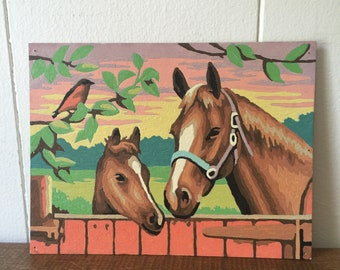 Vintage Paint By Number, PBN, Vintage Horse Paint By Number, Completed Paint By Number