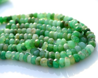 Varigated Green Chrysoprase Faceted Rondelles   25 beads