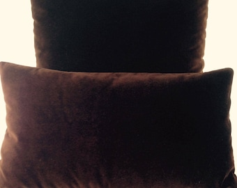 Throw Pillow Cover Chocolate Brown Velvet