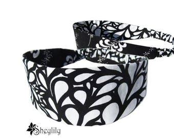 Black White Headband - Floral Headband - Reversible Headband - Yoga Headband - Bandeau Headband - Fashion Headband - Hair Loss Headband