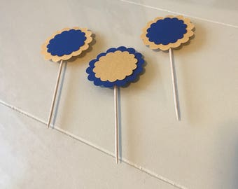 Blue & Gold Cupcake Toppers / Cake Topper / Birthday Decor / Party Decorations / Baby Shower / Bridal Shower